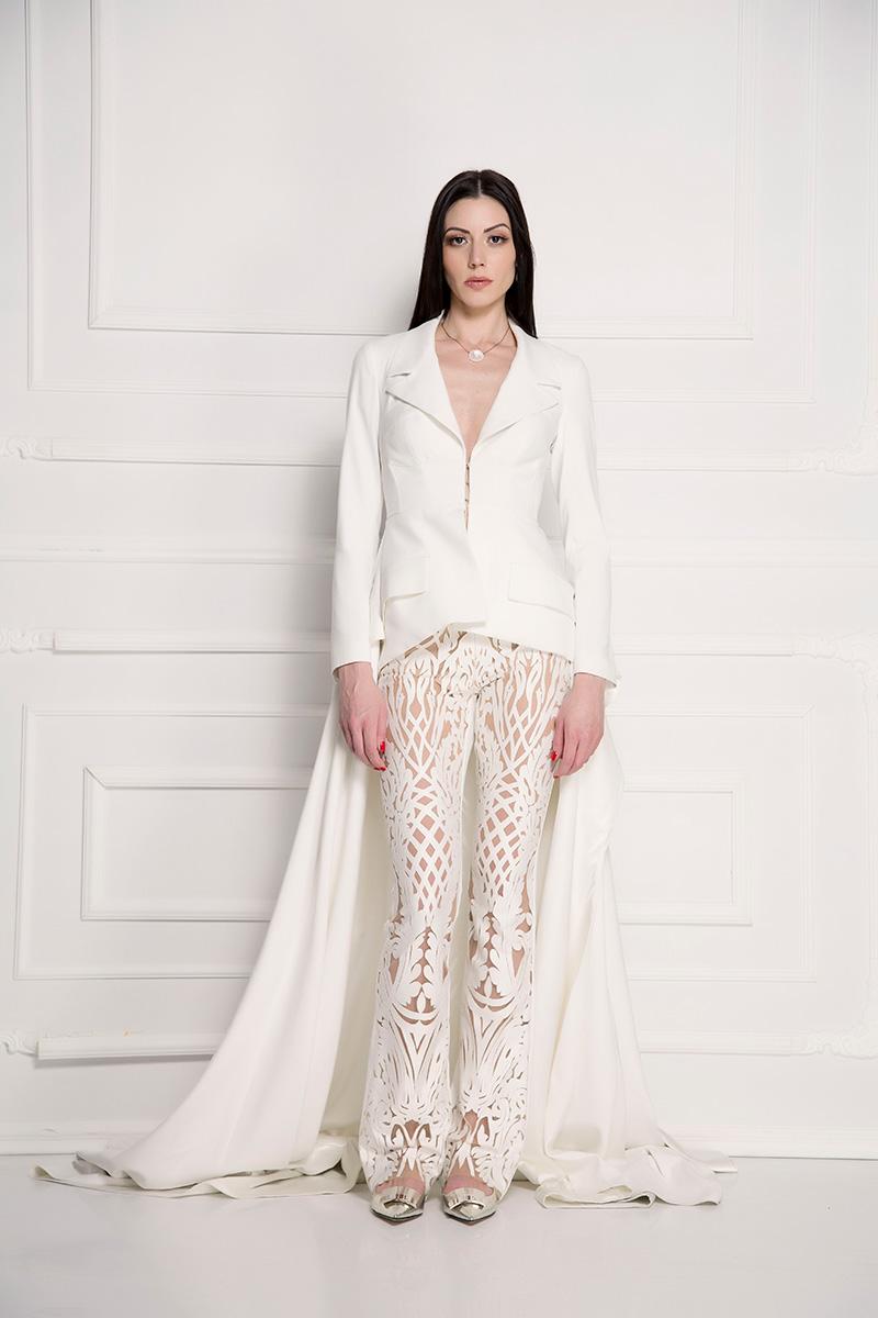 Pantalone pliš čipka bele