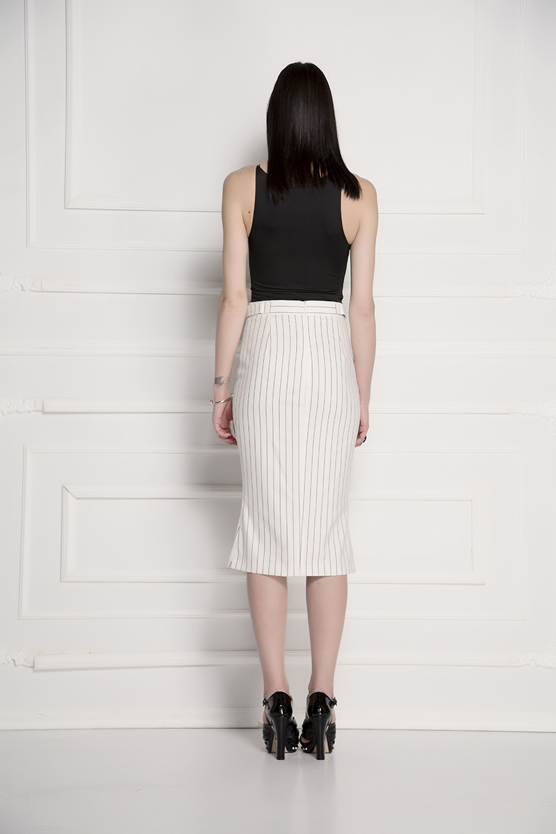 High waist stripe skirt