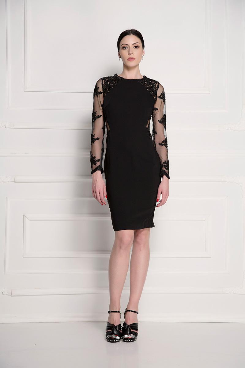 Koktel haljina sa rukavima