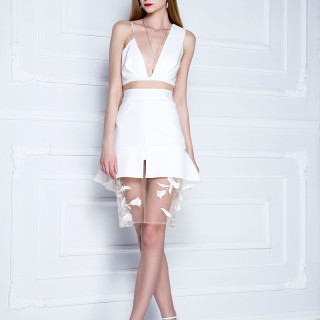 Calla mini haljina sa volanom i čipkom