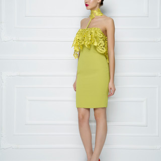 Mini haljina sa karnerom od pamučne čipke