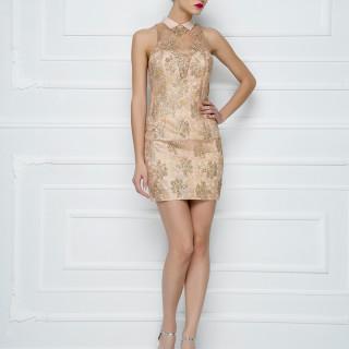 Mini haljina od krep satena i pastelne štras-čipke