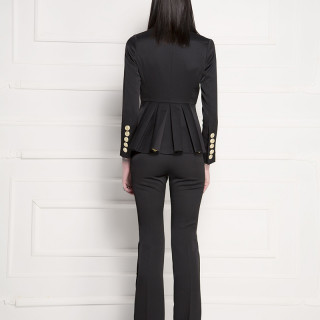 Double-breasted pleated blazer