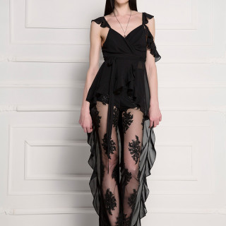 Cutout assymetric ruffled silky-chiffon blouse