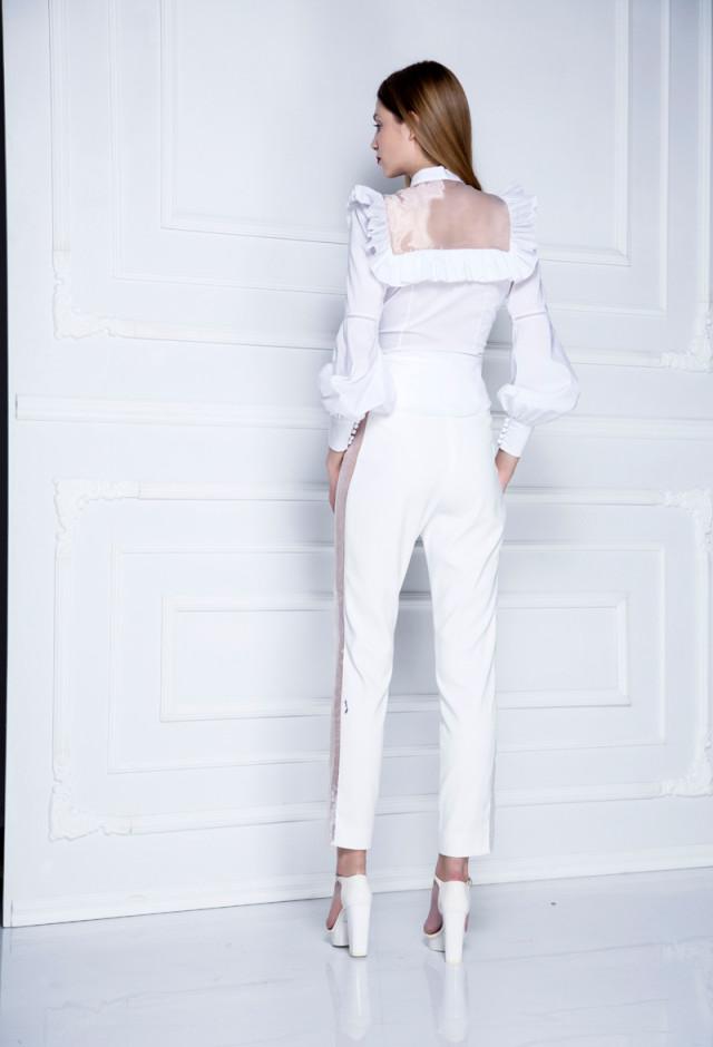 Bele pantalone sa organdinom