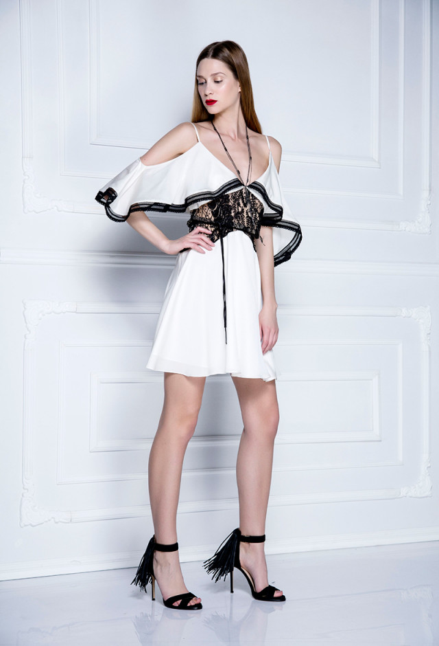 Michelle svilena haljina sa volanima i čipkom