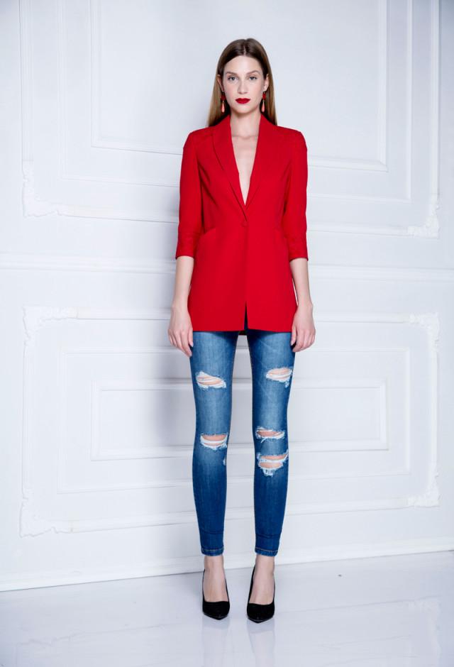 Skinny distressed jeans