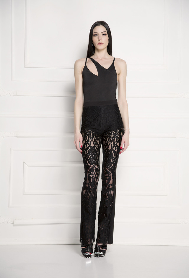 High waist velvet lace pants