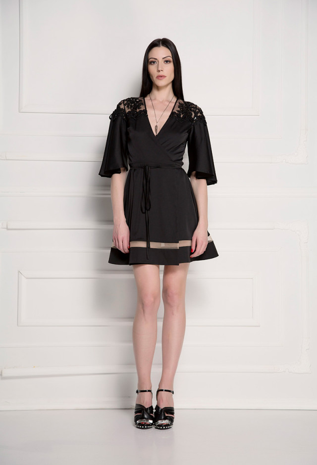 Embellished silky wrap dress